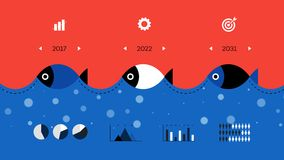 Modern Infographic Timeline Constructor For Fishing Industry. Conceptual Vector Background. Template For Business Presentations Royalty Free Stock Image