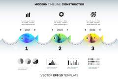 Modern Infographic Timelinekonstruktör för fiskenäring Begreppsmässig vektorbakgrund Mall för affär Arkivfoton