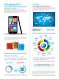 Modern Infographic with a touch screen smartphone Stock Photo