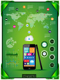 Modern Infographic with a touch screen smartphone Stock Images