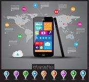 Modern Infographic with a touch screen smartphone Royalty Free Stock Images