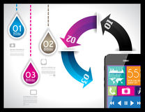 Modern Infographic with a touch screen smartphone Royalty Free Stock Photos