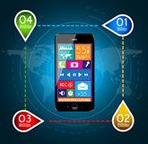 Modern Infographic with a touch screen smartphone Stock Photos