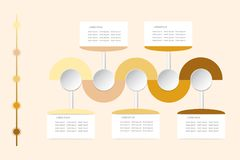 Modern infographic vector as wavy waves in shadows of yellow and Royalty Free Stock Images