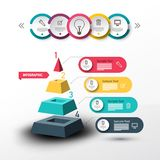 Modern Infographic Vector Design with Pyramid. And Data Flow Chart. Colorful Paper Labels Infographics Layout. Four Steps Web Page Company Presentation Concept stock illustration