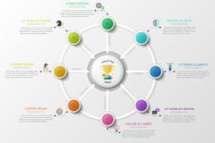 Modern Infographic Vector Template. Round diagram. Eight colorful lettered circles with arrows pointing at round element in center, linear icons and text boxes royalty free illustration