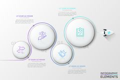 Modern Infographic Vector Template. Spacecraft flying around 4 numbered white circular elements with thin line pictograms inside. Concept of four steps to stock illustration