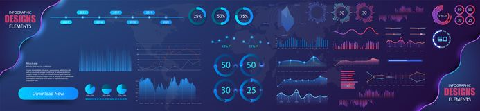 Modern modern infographic vector template with statistics graphs and finance charts. Diagram template and chart graph. Graphic information visualization royalty free illustration