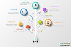 Modern Infographic Vector Template. Tree diagram or vertical timeline with space rocket, round elements with linear icons, year indication and text boxes royalty free illustration