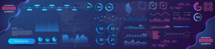 Modern modern infographic vectormalplaatje met statistiekengrafieken en financiëngrafieken Diagrammalplaatje en grafiekgrafiek royalty-vrije illustratie