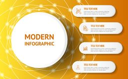 Modern infographic with yellow background stock illustration