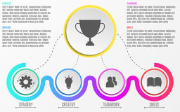 Modern infographics. Abstract diagram in a flat style from paper realistic circles and lines. Steps to success. Quality of work an. D strategy. Vector Stock Photo
