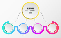 Modern infographics for business. An abstract diagram in a flat style from paper realistic circles and dotted lines. Option number. Quality of the team. Empty stock illustration
