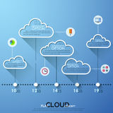 Modern infographics cloud template for 5 options with icons. Modern infographics cloud timeline template for 5 options with icons. Vector. Can be used for Royalty Free Illustration