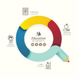 Modern infographics design pencil arrow options banner. Vector Royalty Free Stock Image