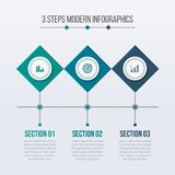 Modern Infographics Elements with 03 Steps royalty free illustration