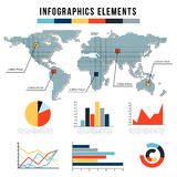 Modern infographics elements. vector set of graphs, charts for annual report presentation. World map in the style of Royalty Free Stock Images