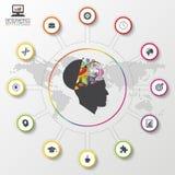 Modern infographics idérik mening färgrik designmall också vektor för coreldrawillustration Arkivbilder