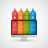 Modern infographics with monitor and colorful ribbons. Royalty Free Stock Photography