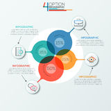 Modern infographics options banner. Modern infographics options banner area chart with 4 intersection circles and icons. Vector. Can be used for web design Royalty Free Illustration