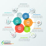 Modern infographics options banner. Modern infographics options banner area chart with 6 intersection circles and icons. Vector. Can be used for web design Vector Illustration