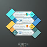 Modern infographics options banner. With 4  arrows made of colorful paper rectangles and flat icons. Vector. Can be used for web design and  workflow layout Stock Illustration