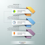Modern infographics options banner. With 3 arrows made of colorful paper rectangles and flat icons. Vector. Can be used for web design and workflow layout Stock Illustration