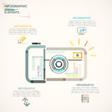 Modern Infographics Options Banner. Modern infographics options banner with camera made of colorful lines in outline style. Vector. Can be used for web design Royalty Free Illustration