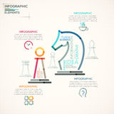 Modern Infographics Options Banner. Modern infographics options banner with chess figures made of colorful lines in outline style. Vector. Can be used for web Stock Illustration