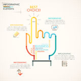 Modern Infographics Options Banner. Modern infographics options banner with colorful businessman hand in outline style. Vector. Can be used for web design and Vector Illustration