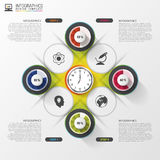 Modern infographics options banner with colorful clock. Vector illustration.  Royalty Free Stock Images