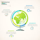 Modern Infographics Options Banner. Modern infographics options banner with colorful globe planet in outline style. Vector. Can be used for web design and Vector Illustration