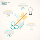 Modern Infographics Options Banner. Modern infographics options banner with colorful key in outline style. Vector. Can be used for web design and  workflow Royalty Free Illustration