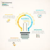 Modern Infographics Options Banner. Modern infographics options banner with colorful light bulb in outline style. Vector. Can be used for web design and Stock Photography