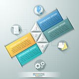 Modern infographics options banner. With 4 colorful paper arrows, numbers and flat icons. Vector. Can be used for web design and  workflow layout Stock Illustration