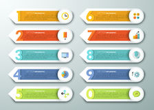 Modern infographics options banner. With 10 colorful paper arrows, numbers from 0 to 9 and flat icons. Vector. Can be used for web design and  workflow layout Stock Illustration