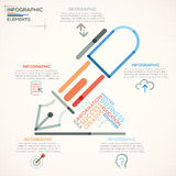 Modern Infographics Options Banner. Modern infographics options banner with colorful pen in outline style. Vector. Can be used for web design and  workflow Stock Illustration