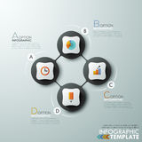 Modern infographics options banner. Modern infographics cycle template with 4 connected paper circles, flat icons on grey background. Vector. Can be used for Stock Illustration