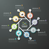 Modern infographics options banner. Modern infographics cycle template with 8 connected paper circles, icons on grey background. Vector. Can be used for web Royalty Free Illustration