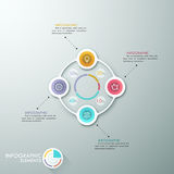 Modern infographics options banner. Modern infographics cycle template with 4 paper circles, icons and pie chart. Vector. Can be used for web design Royalty Free Illustration