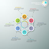 Modern infographics options banner. Modern infographics cycle template with 6 paper circles, icons and pie chart. Vector. Can be used for web design Stock Illustration