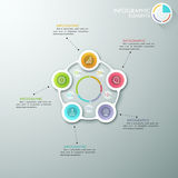 Modern infographics options banner. Modern infographics cycle template with 5 paper circles, icons and pie chart. Vector. Can be used for web design Royalty Free Illustration