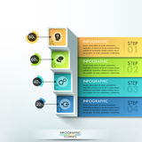 Modern infographics options banner. 3d Modern infographics options banner with blocks and colorful paper ribbons for 4 options. Vector. Can be used for web Stock Image