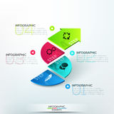 Modern infographics options banner. With 3d colorful arrow divided into 4 parts. Vector. Can be used for web design and  workflow layout Royalty Free Stock Images