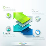 Modern infographics options banner. With 3d colorful glass arrows for 4 steps. Vector. Can be used for web design and  workflow layout Stock Photography