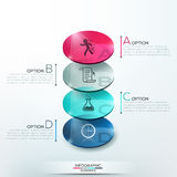 Modern infographics options banner. With 3d colorful glass circles for 4 steps. Vector. Can be used for web design and  workflow layout Royalty Free Stock Photo