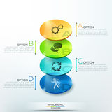 Modern infographics options banner. With 3d colorful glass circles for 4 steps. Vector. Can be used for web design and  workflow layout Royalty Free Stock Images