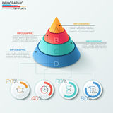 Modern infographics options banner. 3d modern infographics options banner with cone pyramid divided into 4 parts and pie charts. Vector. Can be used for web Stock Photography