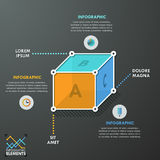Modern Infographics Options Banner. 3d Modern infographics options banner with flat style cube divided into 3 options. Vector. Can be used for web design and Stock Images