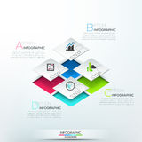 Modern infographics options banner. With 3d white blocks, steps for 4 options. Vector. Can be used for web design and  workflow layout Royalty Free Stock Photography